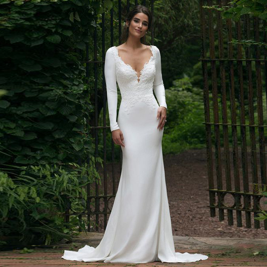 Elegant V-neck Neckline Tulle Long Sleeves Lace Applique Mermaid Wedding Dress With Illusion Back Sweep Train Bridal Dress