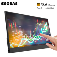 EGOBAS Tragbare Monitor 15,6 Touchscreen 1080P LCD Ultradünne Externe Sekundäre Display für PC Mac Laptop Telefon Schalter Xbox PS4