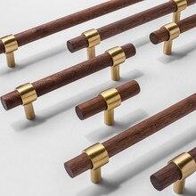 Knob Pull-Handle Walnut Brass Nordic-Style Wood Cupboard Door Black Color of Combinant