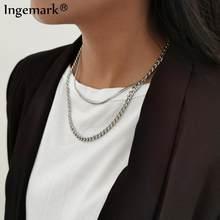 Collier chaîne multicouche Vintage en acier inoxydable pour femmes, couleur argent, lien serpent, accessoires de bijoux de noël