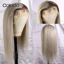 COLODO 13x4 Lace Front Human Hair Wigs #4 Roots Brazilian Re