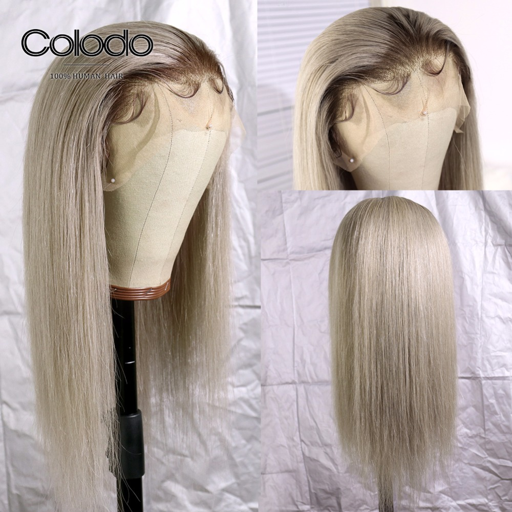 COLODO 13x4 Lace Front Human Hair Wigs #4 Roots Brazilian Remy 613 Lace Front Wig Pre Plucked Ash Blonde Straight Wigs for Women image
