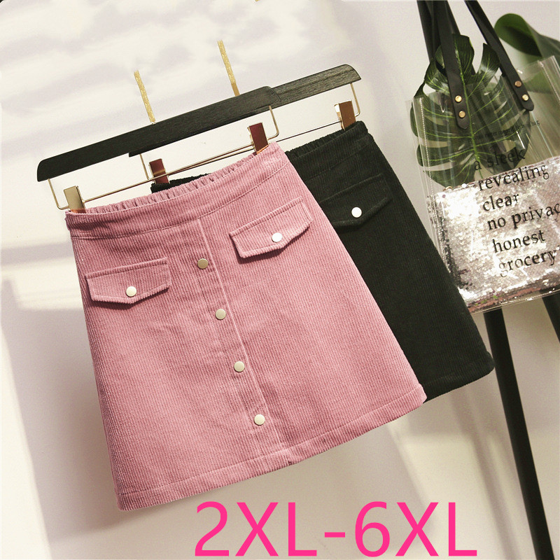 2019 Autumn Winter Plus Size Skirts For Women Elegant Loose Casual Elastic Waist Corduroy Short Skirt Black Pink 3XL 4XL 5XL 6XL
