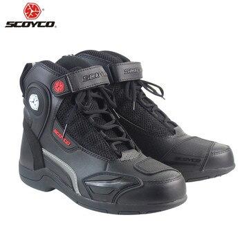 SCOYCO Motorcycle Boots Motorbike Motorboats Moto Biker Botas Men Ankle Shoes Riding Boot Motorcycle Shoe Racing Boots