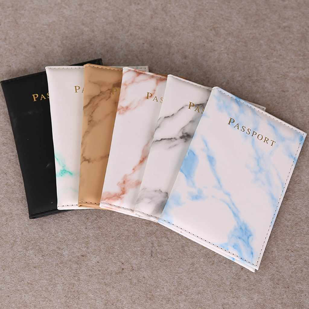 Fashion Marble Style Passport Cover Waterproof Leather Wallet Zipper Coin Purse Passport Packet Card Holder Travel Cover Case