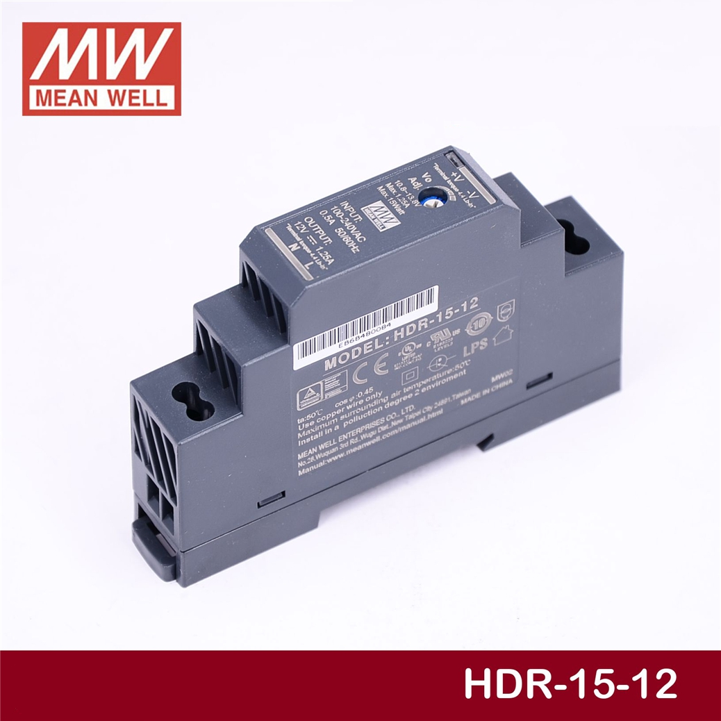 Meanwell MEAN WELL HDR-15-12 12 V 1.25A HDR-15 15 W Single Output Industrial Trilho DIN fonte de Alimentação