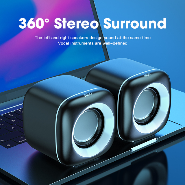 Mini Computer Speakers Deep Bass Sound Speaker for For TV Laptop Surround Sound Box Subwoofer Powerful Multimedia Loudspeakers 5