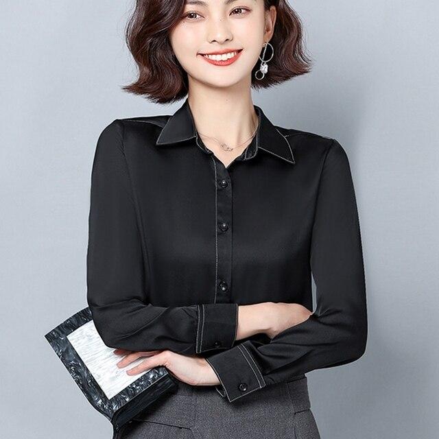 New Women Satin Silk Shirt Spring Autumn Long Sleeve Lapel Collar Office Ladies Work Shirt Women Blouse Casual Elegant Basic Top 1