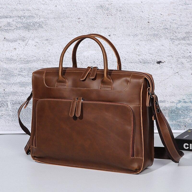 2019 New Crazy Horse PU Leather Business Briefcase Vintage Mens Bag 14 Laptop