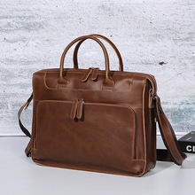 2019 New Crazy Horse PU Leather Business Briefcase Vintage Mens Bag 14 Laptop