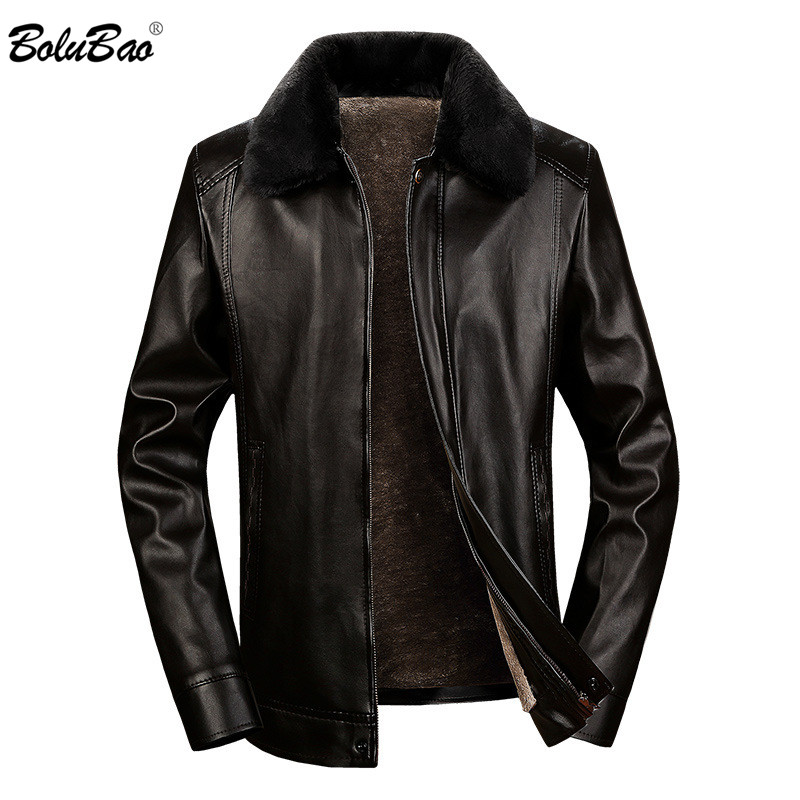 BOLUBAO Men PU Leather Jackets Winter Brand Men's Leather Jacket Male Business Casual Leather Jacket (Detachable Fur Collar)