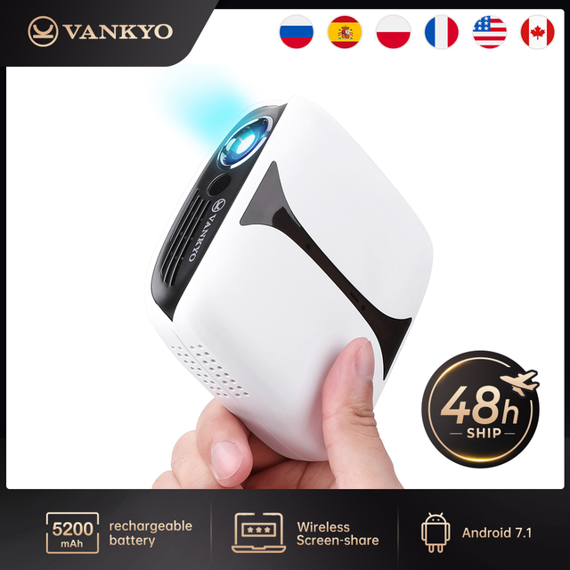 VANKYO Burger A101MQ DLP Mini Projector 1080P 3D Wireless Rechargeable Mini Projector for iPhone Android Laptop for Home & Out 1