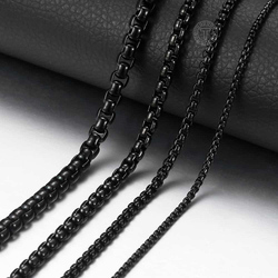 2-5mm Black Box Chain Necklace For Men Stainless Steel Necklace Men's Necklace Wholesale Jewelry 18-36