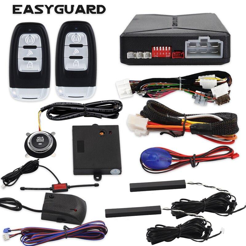 EASYGUARD EC010-MS PKE car Alarm Passive keyless Entry with Push Button Start & Remote Starter, Microwave Sensor Shock Alarm