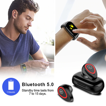 2-in-i Earbuds Smart Watch Bluetooth Sports Bracelet Blood Pressure Heart Rate Wristband WHShopping