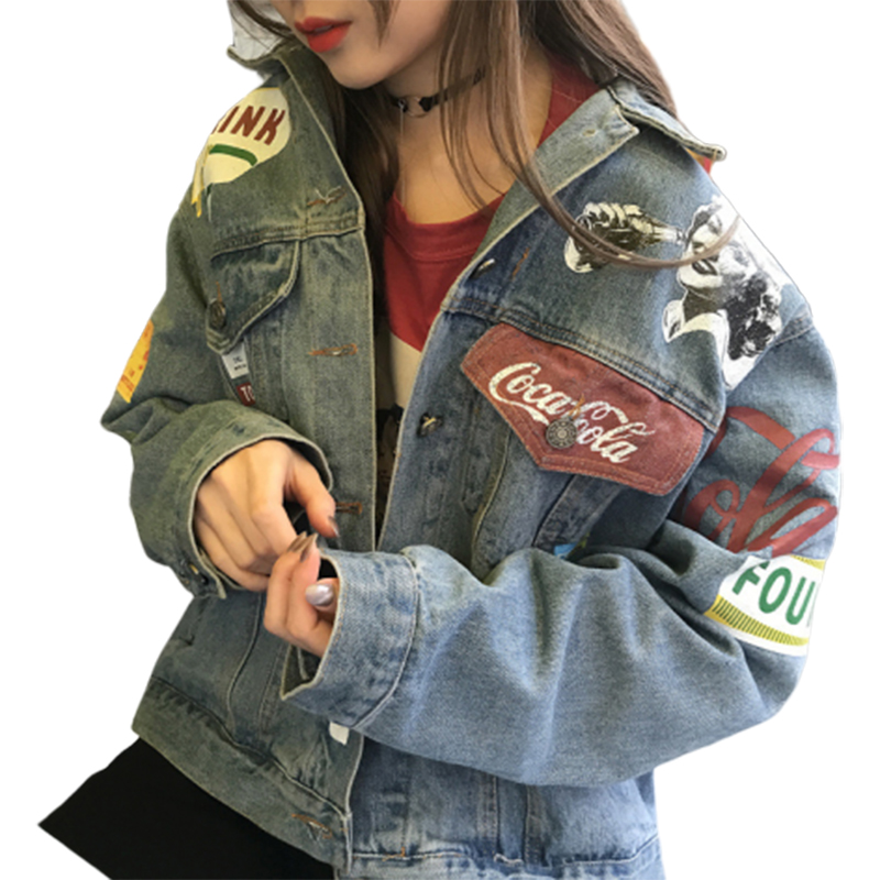 2019 Autumn Graffiti Denim Jeans Jacket Loose Port style Vintage Jacket Befree Chaqueta Mujer Coats And Jackets Women Streetwear