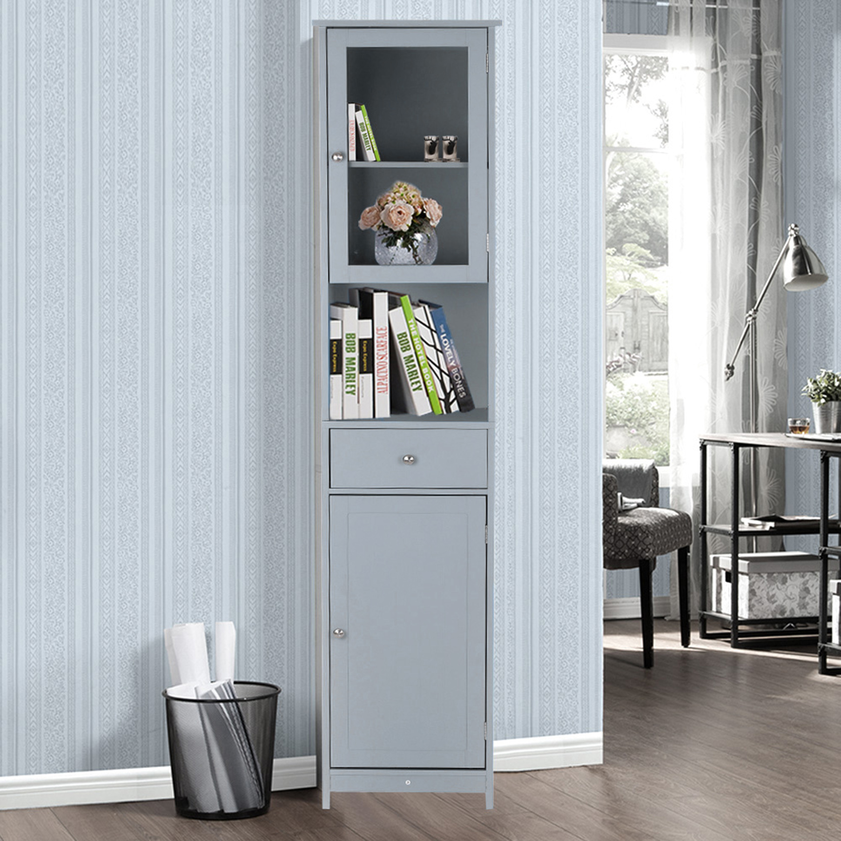 iKayaa Modern Tower Tall Storage Cabinet with Doors & Drawer Wooden Floor Cabinet Home Furniture White/Blue/Grey