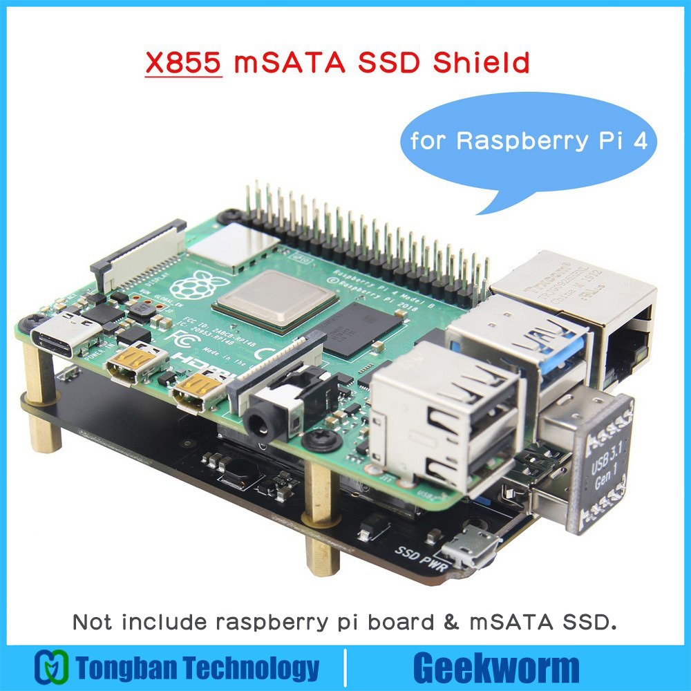 Raspberry Pi 4 mSATA SSD Storage Expansion Board X855 V1.3 USB3.1 Shield for Raspberry Pi 4B-in Demo Board from Computer & Office