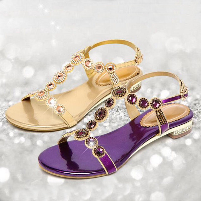 2020 nouvelles sandales femmes ensemble strass plat sandales femmes gris sandales chaussures de plage femme Rome gladiateur crocse crocks feminino