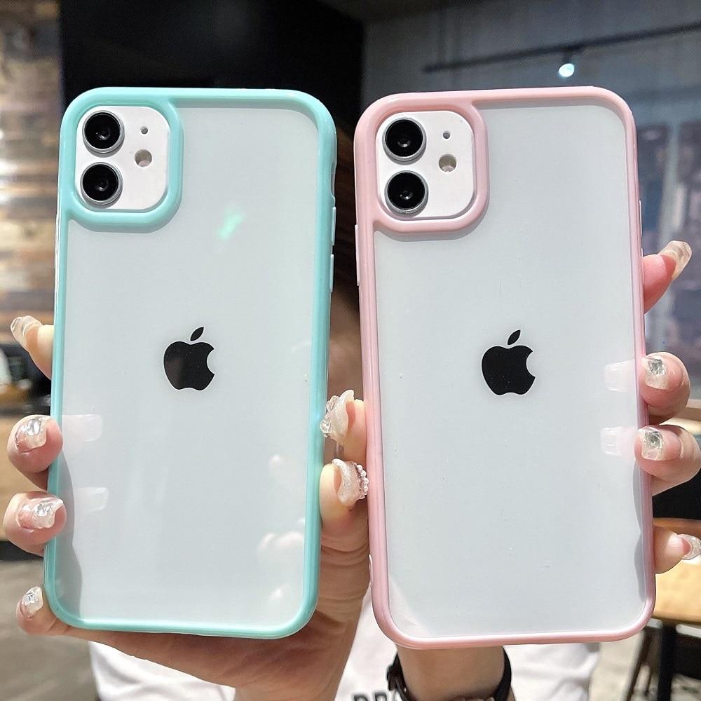 Custodia per telefono trasparente antiurto per paraurti colorato per iPhone 12 Mini 11 Pro Max XR X XS Max 8 7 6S Plus SE 2020 Cover posteriore trasparente 2