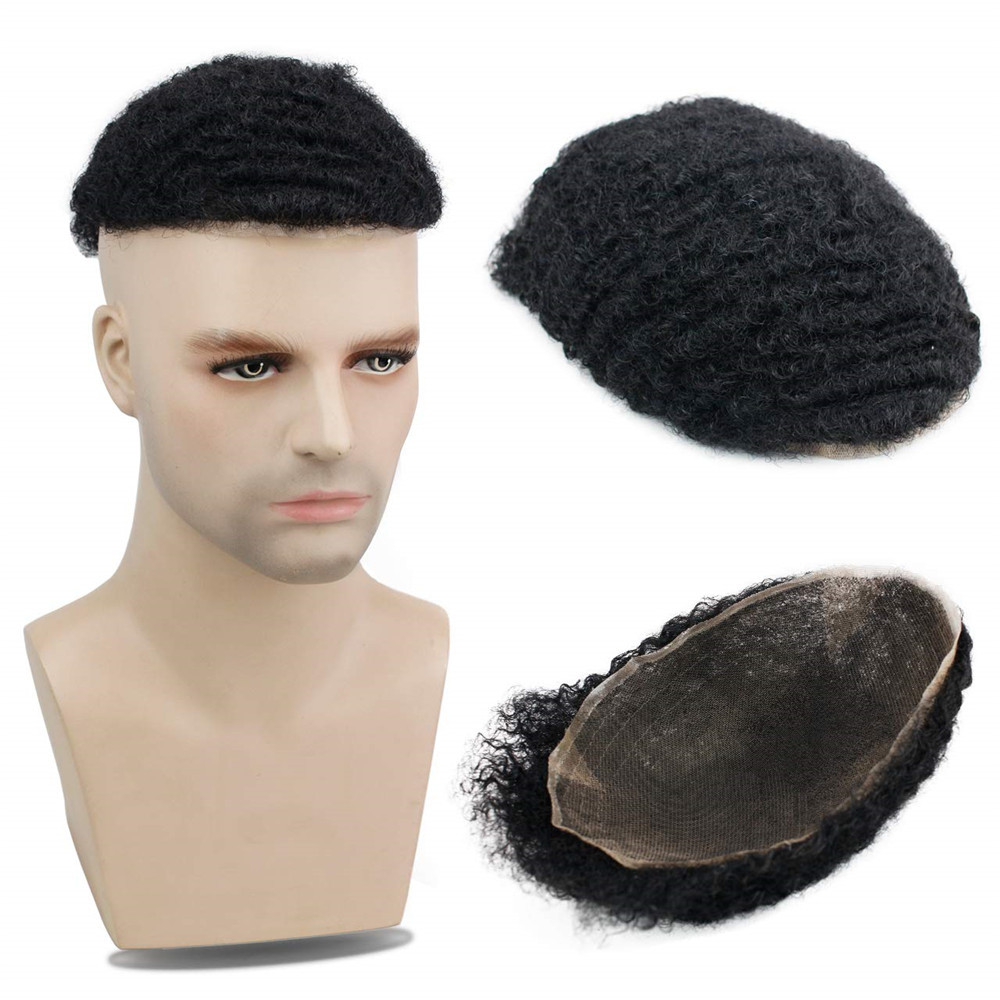 Toupee 10x8 Inch Replacement Full Siwss Lace Hairpiece for Men 100% Virgin Human hair #1 Eseewigs