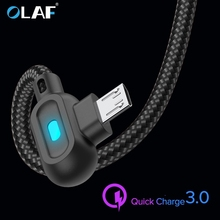 OLAF 90 Degree Micro USB Type C Cable Fast Charging Type-C For Samsung Xiaomi Huawei LG Android Microusb USB-C Charger