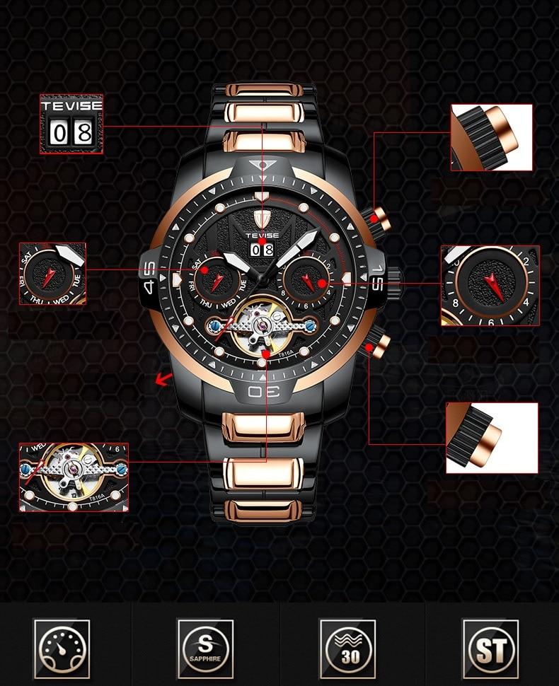 Big Man Watch TEVISE T816A Tourbillon Week Date Month Automatic Mechanical Wristwatch Luminous Hand Scale Watch Men Dropshipping (5)