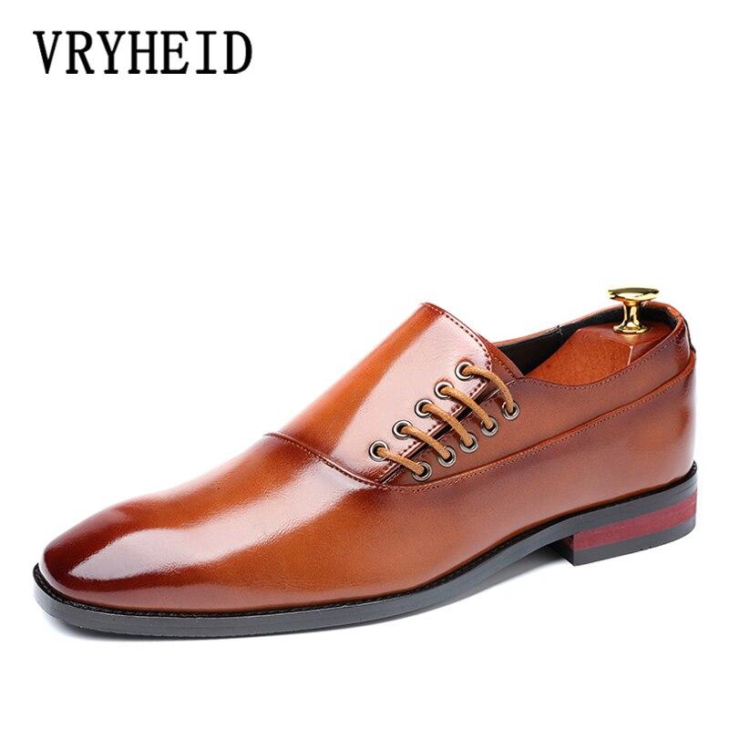 VRYHEID 2019 nowych mężczyzna odzież buty projektant biuro biznes sznurowane mokasyny buty do jazdy samochodem na co dzień męskie płaskie Party skórzane buty w Buty wizytowe od Buty na  Grupa 1