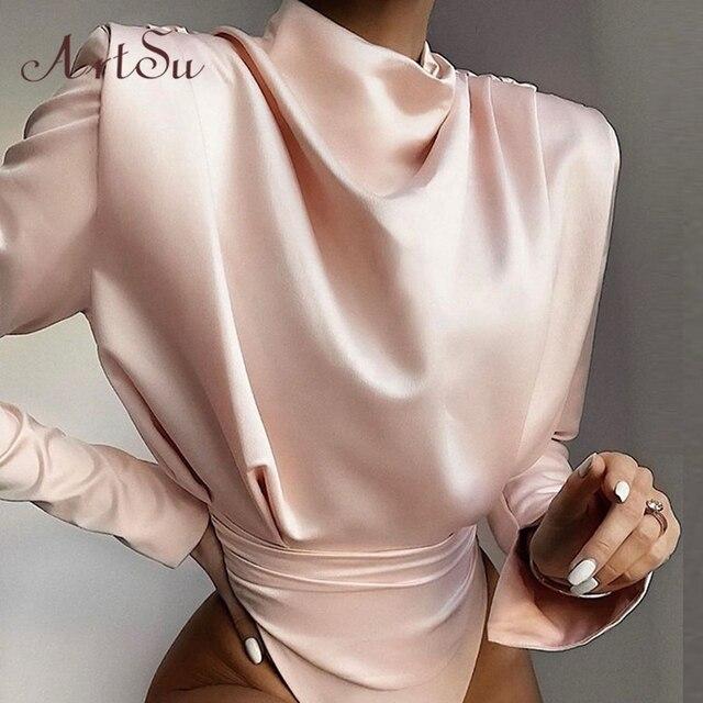 Artsu Elegant Satin Pink Blouse Long Sleeve Bodysuits Tops Women 2020 Spring New Romper Mujer Ladies Cute Shirts ASJU60703