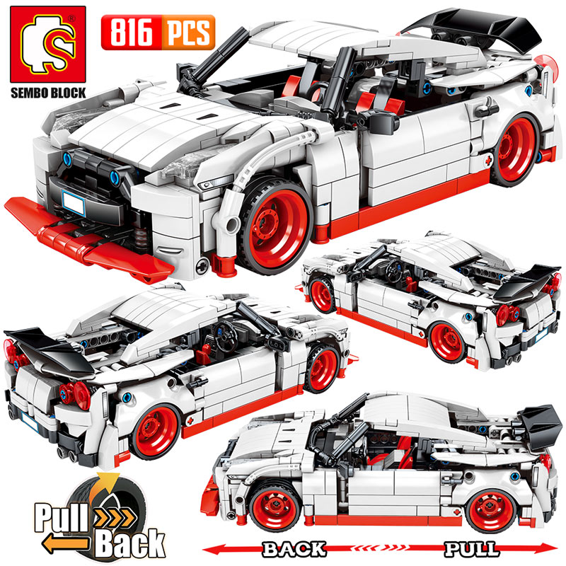 SEMBO City Pull Back Extreme Speed Super Racing Car Building Blocks Legoing Technic Supercar Funcation Model Bricks Toy For Boys