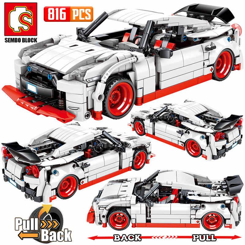SEMBO Stadt Pull Zurück Extreme Geschwindigkeit Super Racing Auto Bausteine Legoing Technik Supercar Funcation Modell Bricks Spielzeug für Jungen