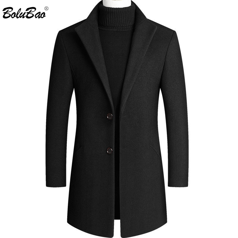 BOLUBAO Men Wool Blends Coats Winter New Men's Solid Color Wool Jacket High Quality Luxurious Wool Coat Male Brand Clothing