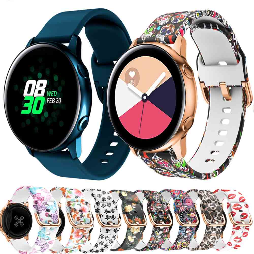 Correa de reloj de silicona con impresión de 20mm para Samsung Galaxy Watch Active/active2 40mm/Amazfit GTR 42mm/GTS correa de pulsera #
