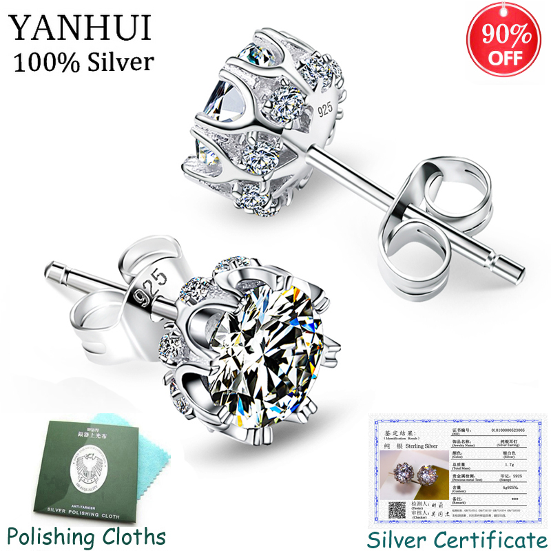 Have Certificate Popular Style Sterling Silver 925 High Quality Zircon Stone White Luxury Daily Wear Silver Earrings SE10817R