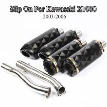For Kawasaki Z1000 Exhaust Tip Muffler System Link Tube Pipe Motorcycle Mid Modified Slip On 2003-2006