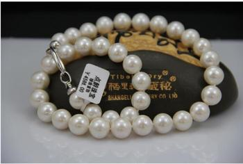 """18""""8-9mm natural south sea genuine white round pearl necklace AAA 925silver DDEK"""