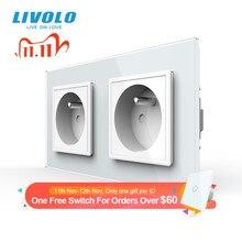 LIVOLO 16A French Standard, Wall Electric / Power Double Socket / Plug, Crystal Glass Panel,C7C2FR 11/12/13/15, no logo