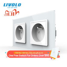 Livolo 16Aフランス規格、壁電気/電源ダブルソケット/プラグ、クリスタルガラスパネル、c7C2FR 11/12/13/15 、なしロゴ