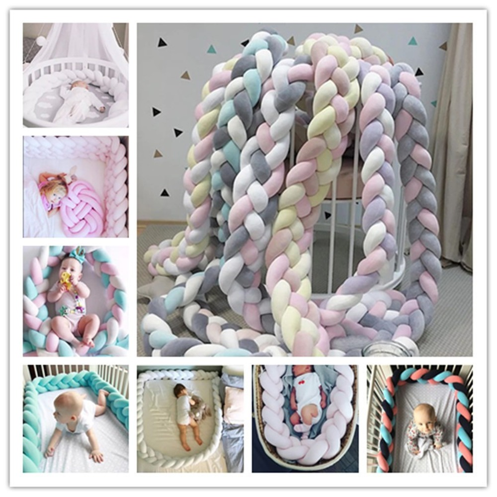 2M Baby Bed Bumper Bed Braid Knot Pillow Cushion Bumper for Infant Bebe Crib Protector Cot Bumper Room Decor