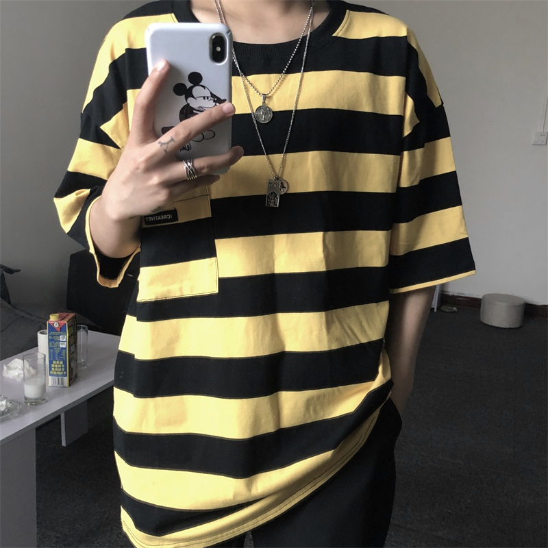 Summer Oversized Loose Stripe Men's T-shirts Funny All-match Casual Couples Clothes 2020 New Hot Sale Vintage Hip Hop Streetwear
