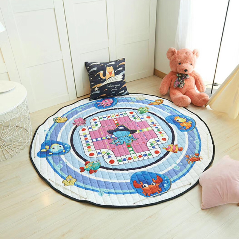 Hf65acf201fb948b9a820c3e0d7e6fbc5A Kid Soft Carpet Rugs Cartoon Animals Fox Baby Play Mats Child Crawling Blanket Carpet Toys Storage Bag Kids Room Decoration