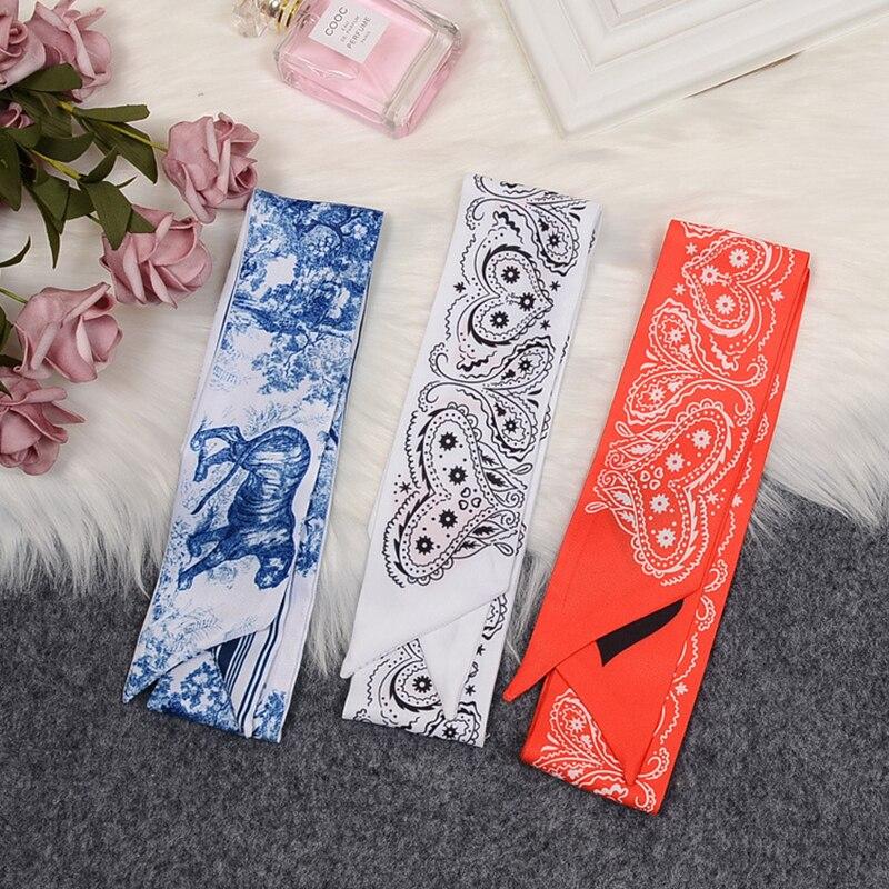 Blue Lion And Python Luxury Brand Scarf Women Silk Scarf Bag Hair Skinny Scarf 2020 Design Wrist Towel Foulard Femme Headband