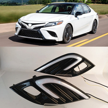 Car flashing 1Set For Toyota Camry 2018 2019 XSE SE DRL LED Fog Lamp Daytime Running Lights  Driving Light With Turn Signal lamp
