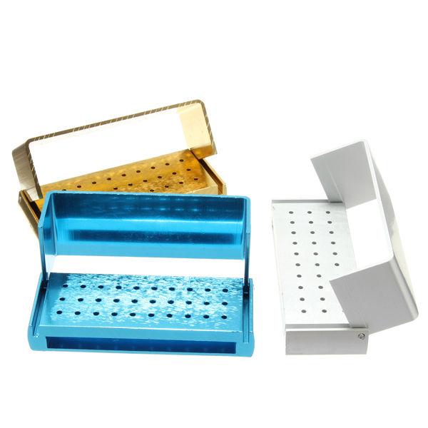 1pc ALUMINIUM Dental Burs Holder Block Disinfection Box  For High Speed Diamond Burs