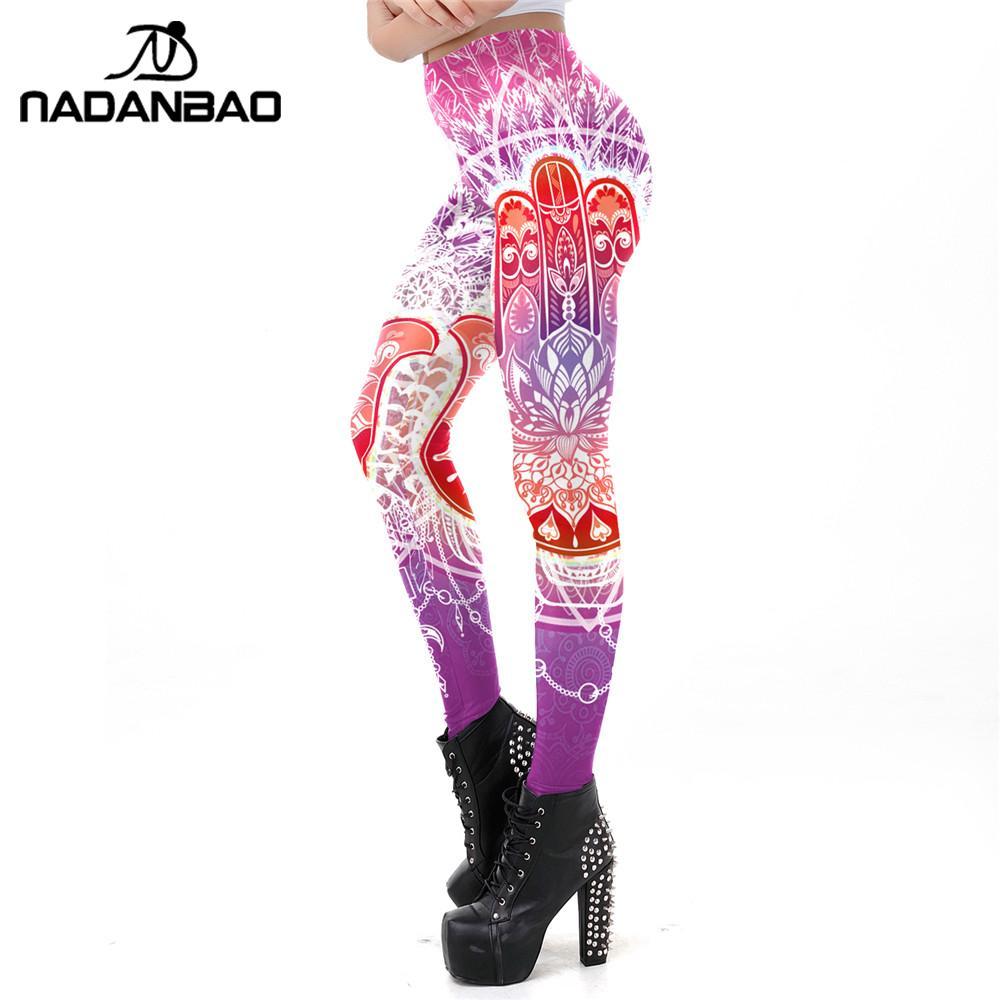 NADANBAO Fashion Lotus Flower Printing Workout Leggings For Women Slim Mandala Hamsa Hand Printed Pants Suitable Sporting Legins