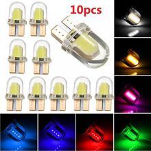 10 шт. светодиодный W5W T10 COB 8SMD силиконовый короткий Автомобильный светодиодный светильник для парковки авто клинообразный габаритный светильник яркий белый лицензионный светильник