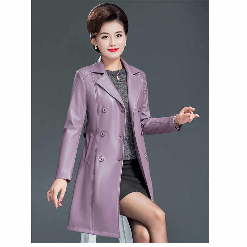 Mãe plus size casaco de couro preto faux manga comprida solta jaqueta PU outono inverno new coreano lapela jaqueta moda feminina JD618