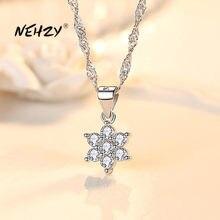 NEHZY 925 de plata esterlina mujer nueva moda de alta calidad de joyería de circón de cristal de collar pendiente copo de nieve longitud 45CM
