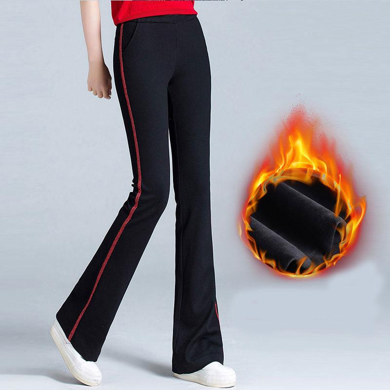 US $4.25 33% OFF Damskie spodnie flare bell bottom biurowe spodnie polarowe ciepłe czerwone czarna elastyczna spodnie plus rozmiar zimowe spodnie