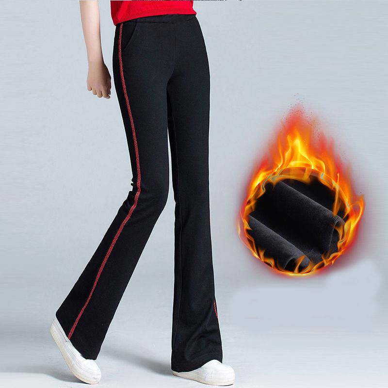 Womens Flare Pants Bell Bottom Office Pants Fleece Warm Red Black Elastic Trousers Plus Size Winter High Waisted Work Pants Mom